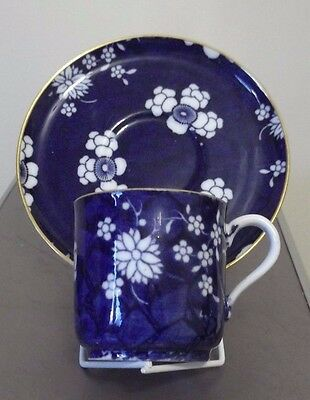 Antique Copeland Coffee Cup & Saucer Blue Background White Flora Date 1878)(A)