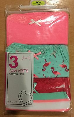 Baby Girl 3 Pk Cami Vests in Pink/Blue with Flamingo detail. size 18-24 months