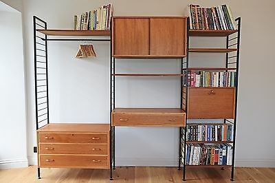 Large mid century retro Ladderax wooden and metal shelving system