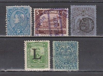 Colombia - 5 Old Stamps (Last One With Back Thin)