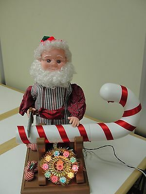 """Vintage 1994 Santa's Best - 22"""" Animated Elf Sawing A Xmas Candy Cane Motionette"""