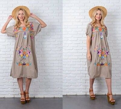 Vintage 70s Mexican Dress Oaxacan Hippie Boho Floral Embroidery A Line L XL