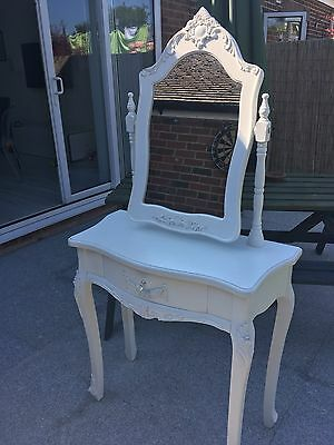 White Dressing Table, Mirror Without Stool (1 Drawer) Bedroom Makeup Desk
