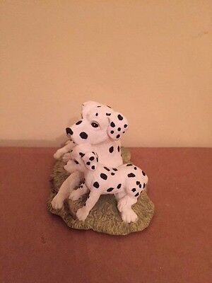 Collectible Poly Dalmatian Dog w/ Baby figurine hand painted by Youngs Inc.