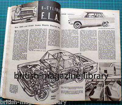 Autocar 13 March 1959 Road Test Wolseley 15/60 Fiat 1800 / 2100 cutaway drawing