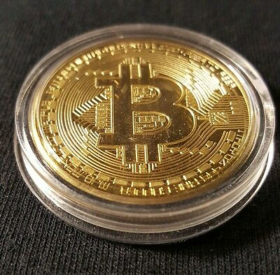 .999 Fine Gold Bitcoin Collectors Coin - Gold Plated SHIPPED FROM USA!