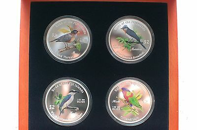 2007 Birds Of Fiji Fine Silver Proof .999 New Zealand Mint 4 Coins 2$