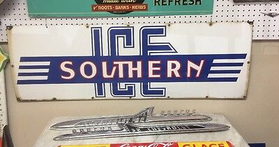 Original Porcelain SOUTHERN ICE Company Advertising Sign