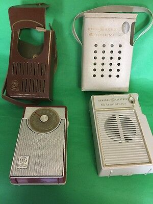 2 General Electric AM 6 Transistor Radio Very Nice Condition Working