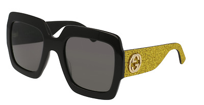 *NEW AUTHENTIC* GUCCI 0102S 002 BLACK GOLD FRAME, GREY LENS, SIZE 54mm