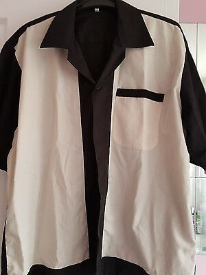 Mens rockabilly cream and black shirt size large