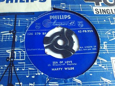 MARTY WILDE UK PHILIPS 45 SEA OF LOVE 1959 1st ISSUE VG+