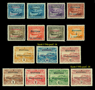 COSTA RICA 1911 Telegraph stamps SURCHARGED set Sc# 86-99 mint MH - Scarce