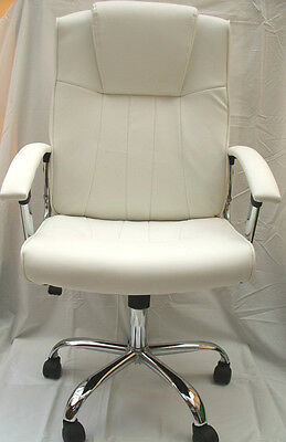 New Stylish White Beige Leather Office Home Study Computer Chair Tilt Swivel