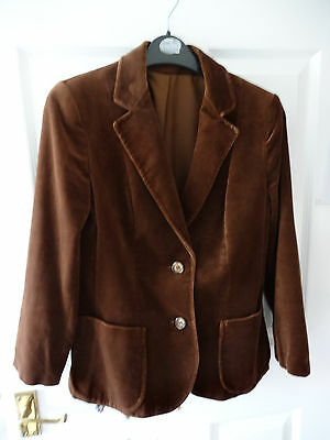 Vintage St Michael (Marks And Spencer) Womens Brown Velvet Jacket Size 8