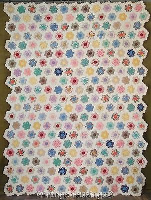 """Sweet Cottage Home! Vintage 30s Flower Garden QUILT A 89x66""""One of Pair"""