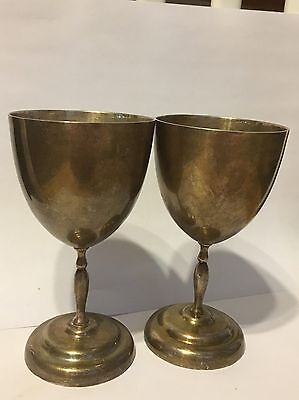 Antique Sterling Silver Mexico Taxco MV Signed 2 Wine Goblets 304 Grams Heavy