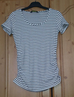 Blooming Marvellous Maternity Ladies Black and white Striped T-shirt Size S (f)