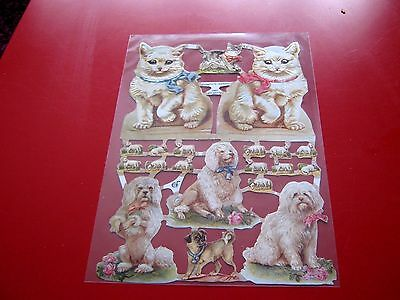 Vintage Style Die Cut  Paper Scraps White Cats & Dogs New