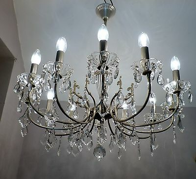 LARGE 12-ARM Vintage French Brushed Steel Silver Chrome Chandelier with Crystals