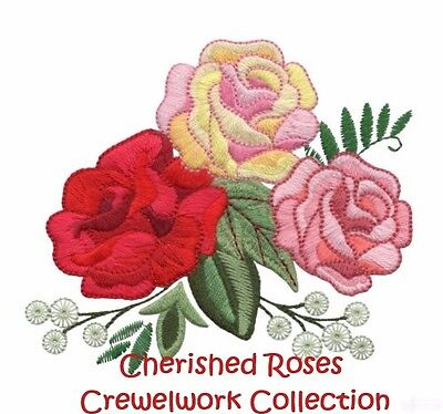 Cherished Roses Crewelwork - Machine Embroidery Designs On Cd