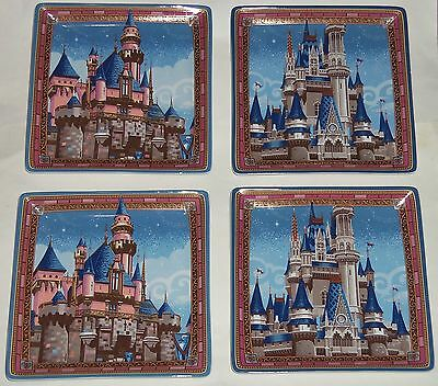 Disney Parks Sleeping Beauty & Cinderella's Castle plates BNIB Jeff Granito
