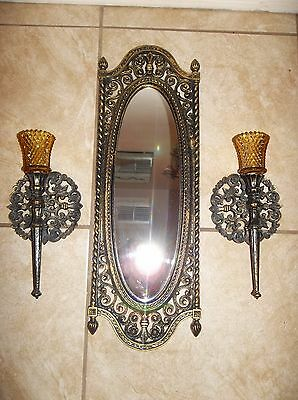 Vintage Homco Home Interiors wall Mirror and candle votive sconces Black & Gold