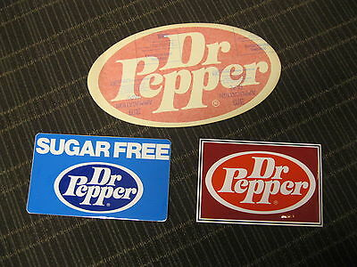 Dr Pepper Decals Three One Oval, Two Rectangles.   Late 1970's