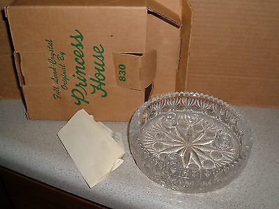 New In Box Princess House Full Lead Crystal 3 Slot Candle Holder Bowl
