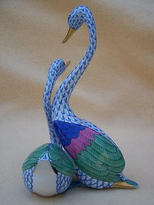 Herend Large Size Blue Fishnet Pair Of Swan Birds Figure