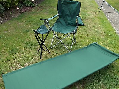 Camp Bed, Folding Chair and Small Stool  - Ideal Festivals, Camping, Fishing