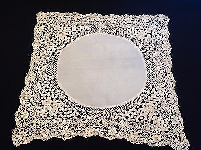 Antique 1890's Maltese Lace Wedding Handkerchief, Excellent