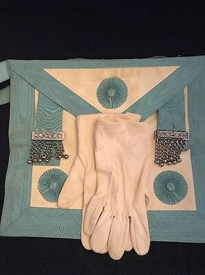 Masonic Apron Blue & White And Gloves