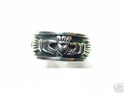 LOOK 0767 Celtic knot Claddagh Ring Sterling Silver Jewelry