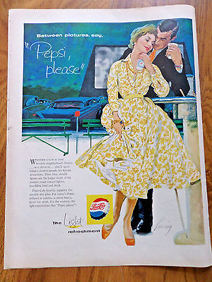 1958 Pepsi Cola Soda Ad  Couple Between Pictures at the Out Door Movies