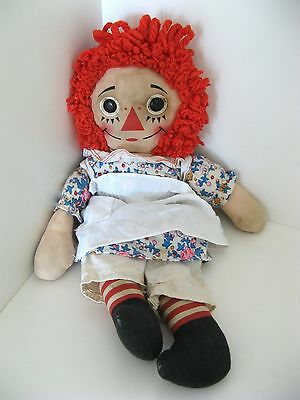 """VTG RAGGEDY ANN DOLL 16"""" with WORKING MUSIC BOX by KNICKERBOCKER with G tag - GC"""