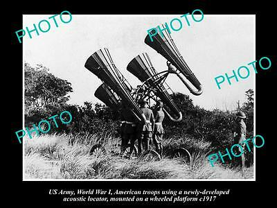 Old Large Historic Photo Of Us Army Wwi, Us Troops With Acoustic Locator 1917