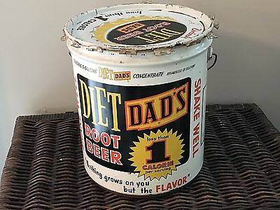 Vintage Diet Dad's Root Beer Concentrate 5 Gallon Bucket/Can/Pail With Lid RARE