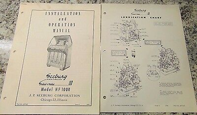 Seeburg Jukebox Model Hf 100R Instruction Manual & Lubrication Chart