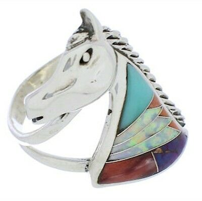 Turquoise Multicolor Silver Horse Ring Size 6-3/4 Jewelry NS36960