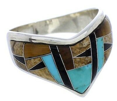 Multicolor Tiger Eye Sterling Silver Jewelry Ring Size 8-3/4 RS42135