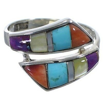 Silver Oyster Shell Multicolor Jewelry Ring Size 5-3/4 RS43388
