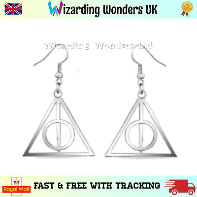 Harry Potter Earrings Deathly Hallows Charm Silver Bronze Gold Gift