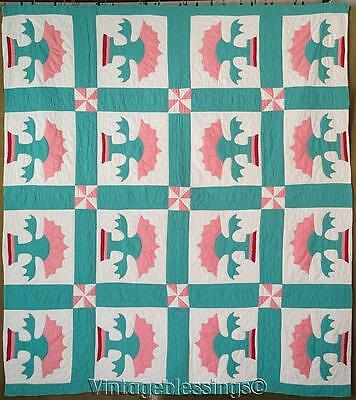 """Cheery! Vintage 1930s Floral Applique Nile Green QUILT 74"""" x 67"""""""