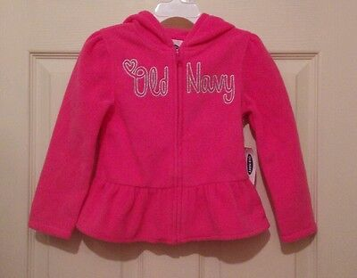 NWT Old Navy Toddler Girls Pink Ruffle Fleece Zip Hooded Warm Jacket Hoodie 4T