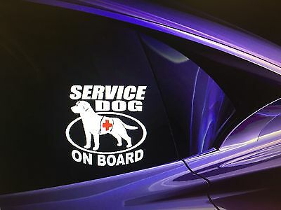 """SERVICE DOG ON BOARD"" Dog Sticker Vehicle/Window 5.5""x5.5"""