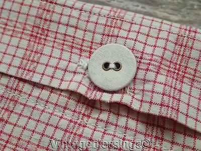 Antique French Linen Windowpane Red White Pillow Sham Stacker or Craft