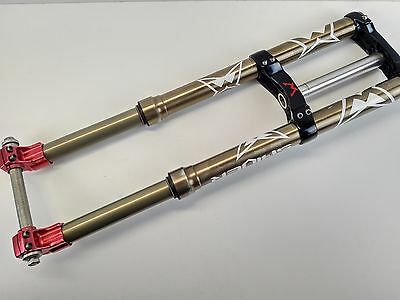 """Marzocchi Shiver World Cup 26"""" Dual Crown Downhill Forks - Red & Gold USED 092"""