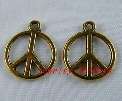 30pcs Gold Color Peace Sign Charms 17x14mm 1941-2