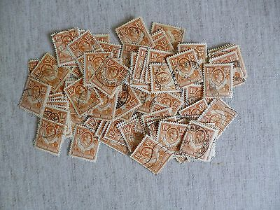 NORTHERN RHODESIA. 1938-1952 100 USED STAMPS of 1 1/2d  DEFINITIVE ISSUE